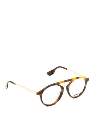 Mcq: glasses - Havana and metal round eyeglasses