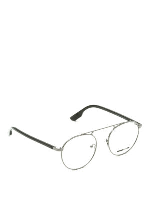 Mcq: glasses - Metallic and black round eyeglasses