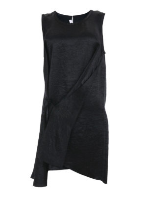 Mcq: knee length dresses - Sleeveless crumpled effect dress