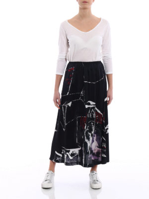 Mcq: Knee length skirts & Midi online - Allover Cut silk satin skirt
