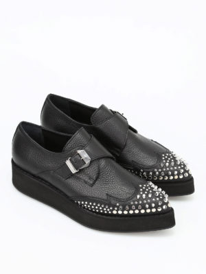 Mcq: Loafers & Slippers online - Manor Creeper leather mon straps