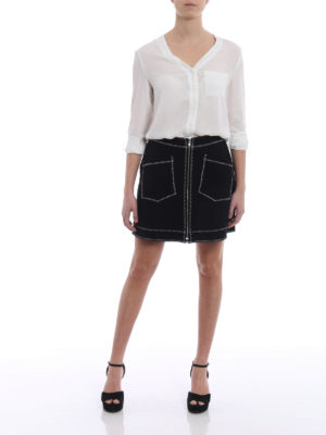 Mcq: mini skirts online - Exposed stitchings mini skirt