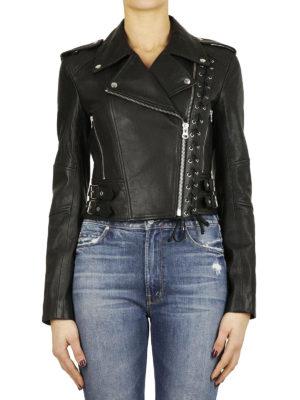 MCQ: giacche in pelle online - Chiodo in pelle dettaglio corsetto