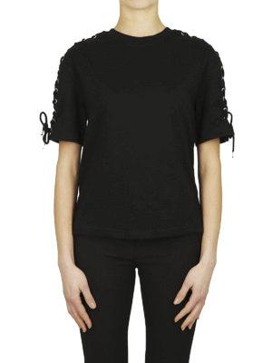 MCQ: t-shirt online - T-shirt nera dettaglio corsetto