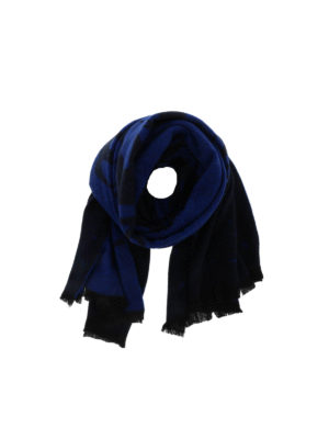 Mcq: scarves - Patterned blue wool blend scarf