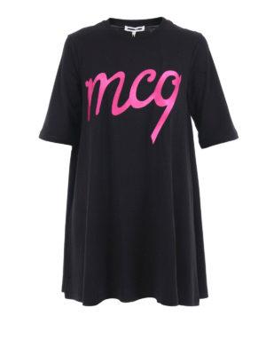 Mcq: short dresses - Embroidered logo loose mini dress