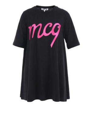 Mcq: short dresses - Logo detailed over Tee dress