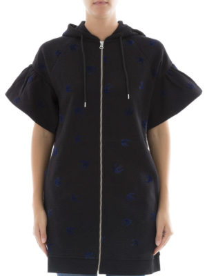 Mcq: short dresses online - Swallow patterned hoodie dress