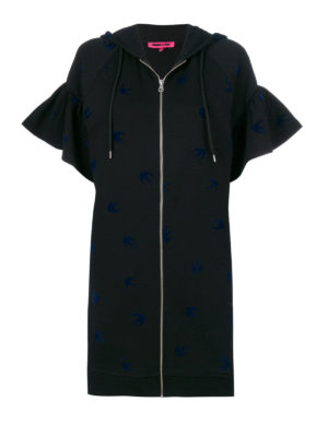 Mcq: short dresses - Swallow patterned hoodie dress