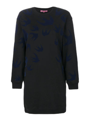 Mcq: short dresses - Velvet Swallow patterned dress