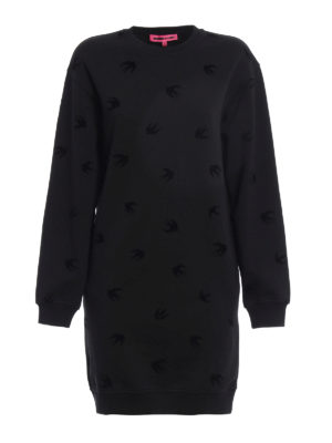 Mcq: short dresses - Velvet Swallow sweatshirt dress