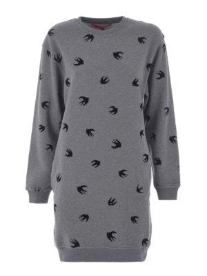 Mcq: short dresses - Velvet Swallow sweatshirt dress