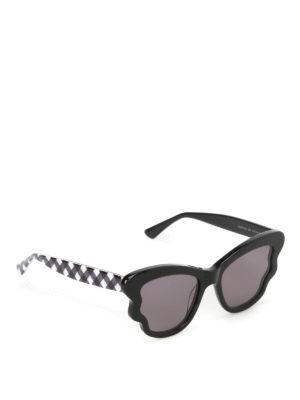 Mcq: sunglasses - Black acetate scalloped sunglasses