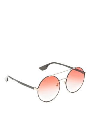 Mcq: sunglasses - Black and gold round sunglasses