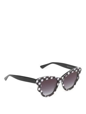 Mcq: sunglasses - Chequered acetate sunglasses