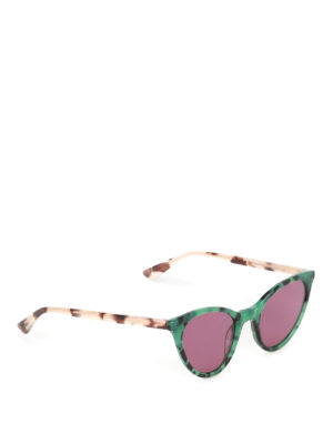 Mcq: sunglasses - Green havana cat-eye sunglasses