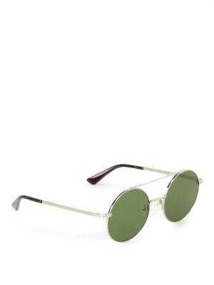 Mcq: sunglasses - Metal sunglasses with green lenses