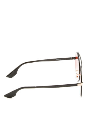Mcq: sunglasses online - Black and gold round sunglasses