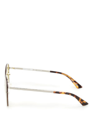 Mcq: sunglasses online - Cat-eye silver metal sunglasses