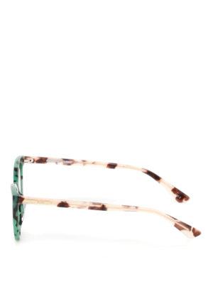 Mcq: sunglasses online - Green havana cat-eye sunglasses