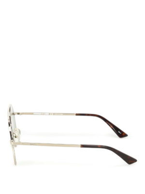 Mcq: sunglasses online - Metal sunglasses with green lenses
