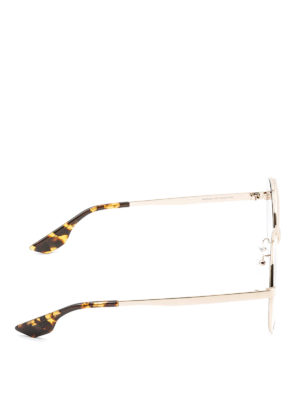 Mcq: sunglasses online - Slim gold metal round sunglasses