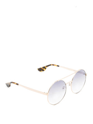 Mcq: sunglasses - Slim gold metal round sunglasses