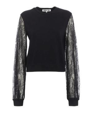 Mcq: Sweatshirts & Sweaters - Floral lace sleeve sweatshirt