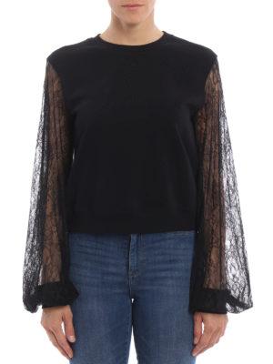 Mcq: Sweatshirts & Sweaters online - Floral lace sleeve sweatshirt