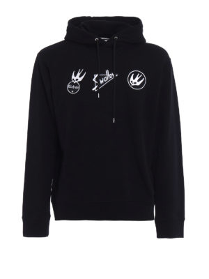 Mcq: Sweatshirts & Sweaters - Swallow embroidered patches hoodie