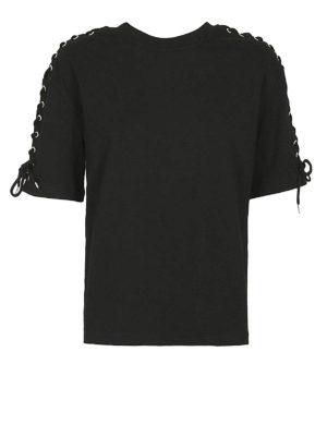 MCQ: t-shirt - T-shirt nera dettaglio corsetto
