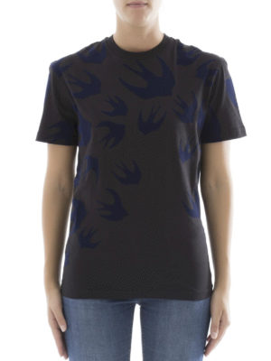Mcq: t-shirts online - Velvet Swallow patterned T-shirt