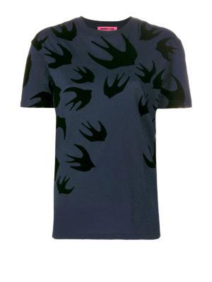 Mcq: t-shirts - Velvet Swallow pattern T-shirt