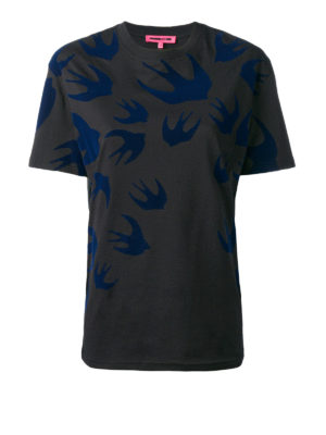 Mcq: t-shirts - Velvet Swallow patterned T-shirt