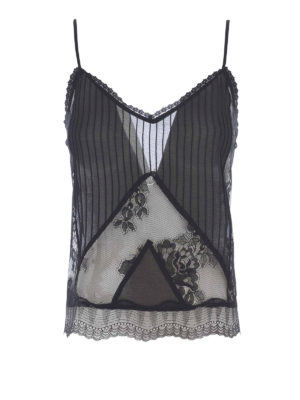 Mcq: Tops & Tank tops - Pleated georgette and lace tank top