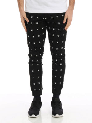 Mcq: tracksuit bottoms online - Swallow patterned jersey trousers