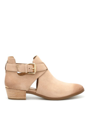 Michael Kors: ankle boots - Mercer buckled suede booties