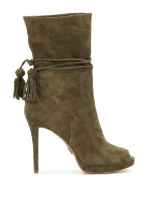 Michael Kors: ankle boots - Rosalie open toe suede booties
