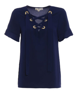 Michael Kors: blouses - Blue crepe blouse with laces