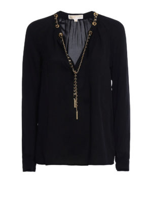 Michael Kors: blouses - Chain detailed black silk blouse