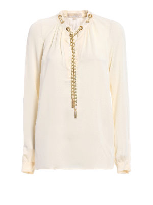 Michael Kors: blouses - Chain detailed bone silk blouse