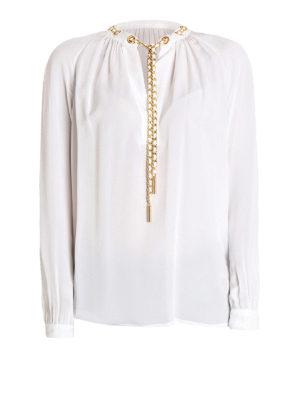 Michael Kors: blouses - Chain detailed white silk blouse