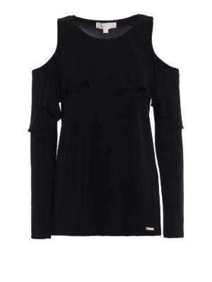 Michael Kors: blouses - Cut-out flounced jersey blouse