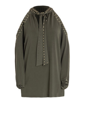 Michael Kors: blouses - Cut-out shoulders studded blouse
