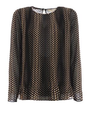 Michael Kors: blouses - Dot print chiffon pleated blouse