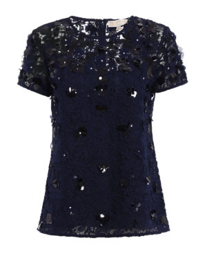 Michael Kors: blouses - Embellished lace and tulle blouse