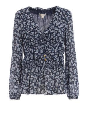 MICHAEL KORS: bluse - Blusa a fiori scollata a V con volants