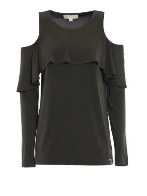 Michael Kors: blouses - Flounced cut-out jersey blouse