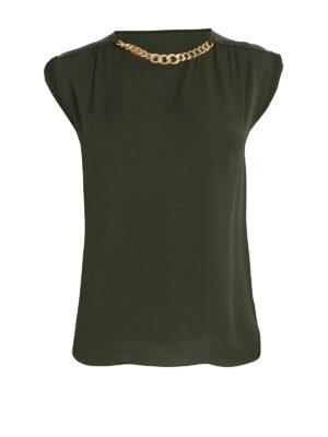Michael Kors: blouses - Gold-tone chain detail silk blouse