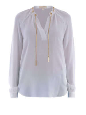 Michael Kors: blouses - Metal chain silk blouse